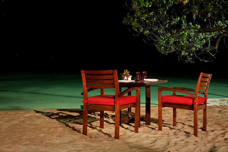 Dinner setting by the beach
